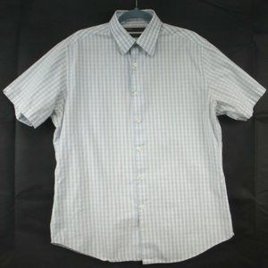 Mens Perry Ellis Short Sleeve Striped Cotton Shirt